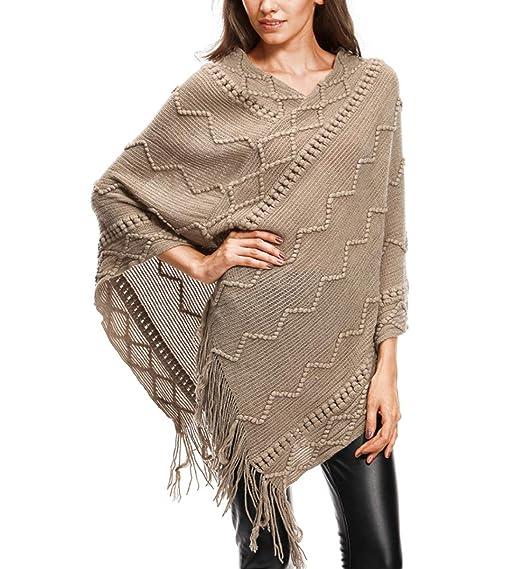 ff15a7163896 JLTPH Femme Elégant Poncho Châle Chaud Pull avec Franges Cape Tricoté au  Crochet Manteau Veste Style