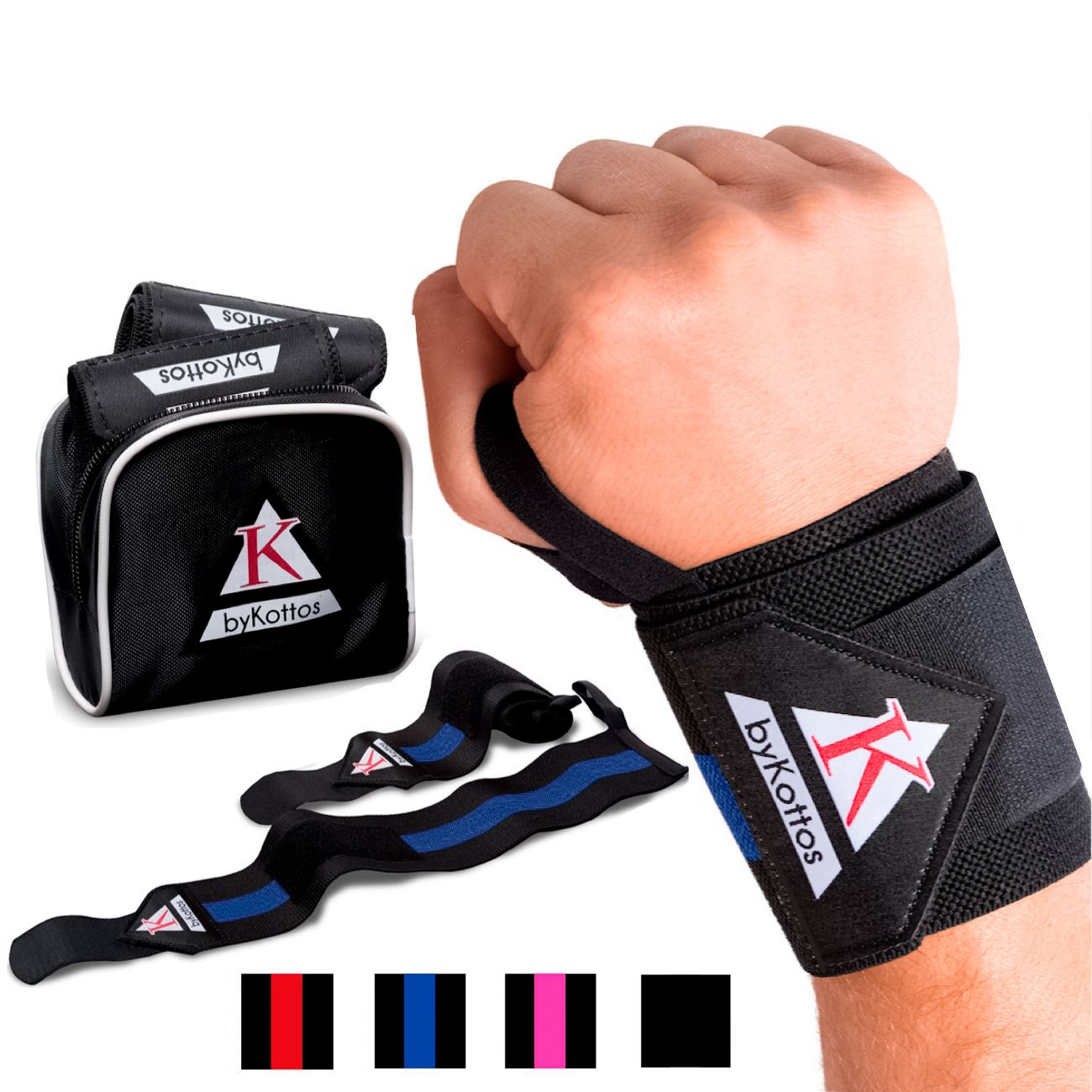 BYKOTTOS Blue Wrist Wraps Weightlifting Fitness Wrist Straps, Heavy Duty Wrist Bands, Wrist Support Braces, Bodybuilding Weight Lifting Powerlifting Crossfit Gym Heavy Training, Carpal Tunnel