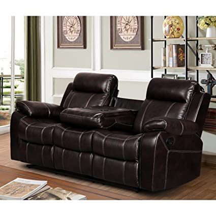 Super Amazon Com Us Furnishing Express Finley Dark Brown Leather Inzonedesignstudio Interior Chair Design Inzonedesignstudiocom