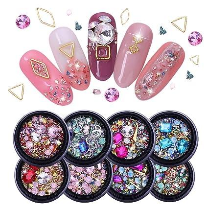 NICOLE DIARY Diamantes de imitación de uñas Diamantes Cuentas Cristales Gemas Mezclado AB Color Adornos Espárragos