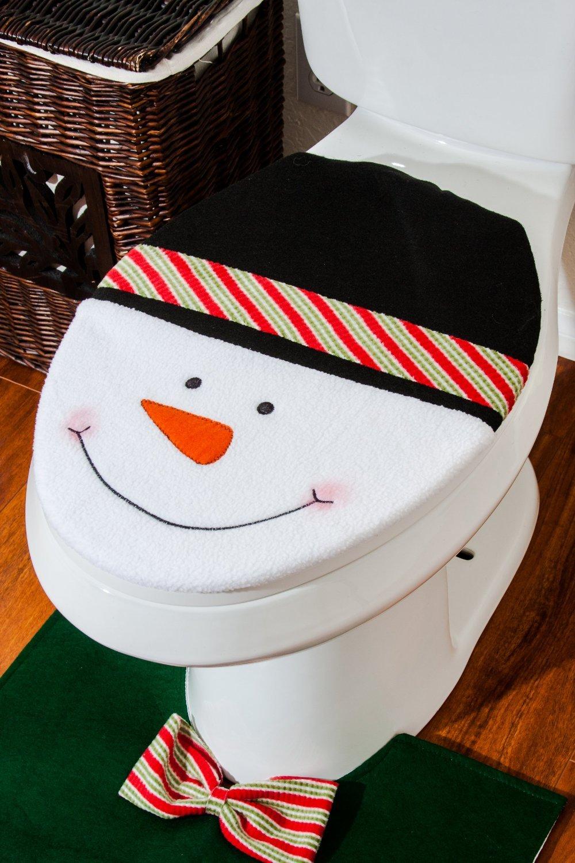 Amazon.com: Snowman Santa Toilet Seat Cover And Rug Set For Bathroom  Christmas Decorations (Green): Home U0026 Kitchen