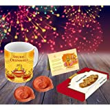 Aart Combo of 4 Happy and Blasting Diwali Ceramic Mug Capacity 350 ml, Greeting Card, Handmade Diya and Sweets (Multicolor, AART_Di03_CM_D001)