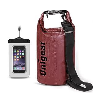 Unigear ドライバッグ 防水バッグ 防水ポーチ付き ドラム型 新型素材 防水 防塵 9色 6サイズ 2L 5L 10L 20L 30L 40L(赤色 10L)