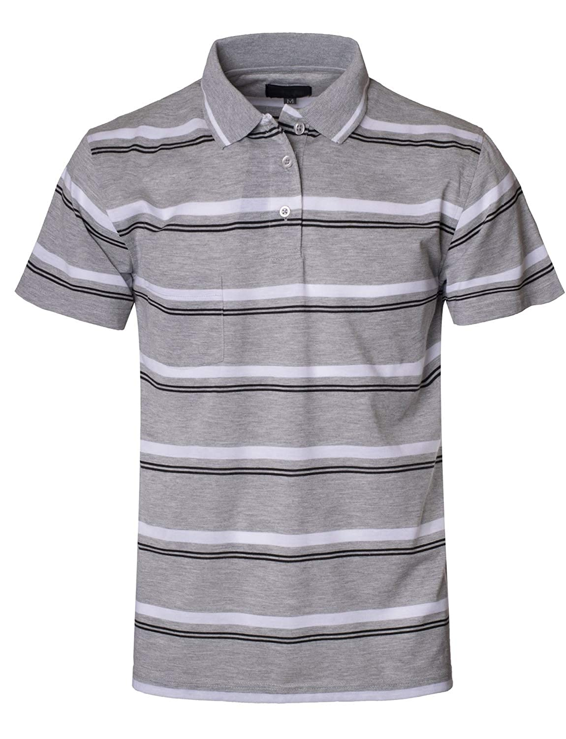 LOVNY Mens Casual Basic Simple Stripe Everyday Polo Shirts J