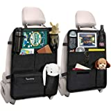 Tsumbay 2 Pack Car Backseat Organizer, Kick Mats Waterproof Car Back Seat Protector with Touch Screen Tablet Holder…