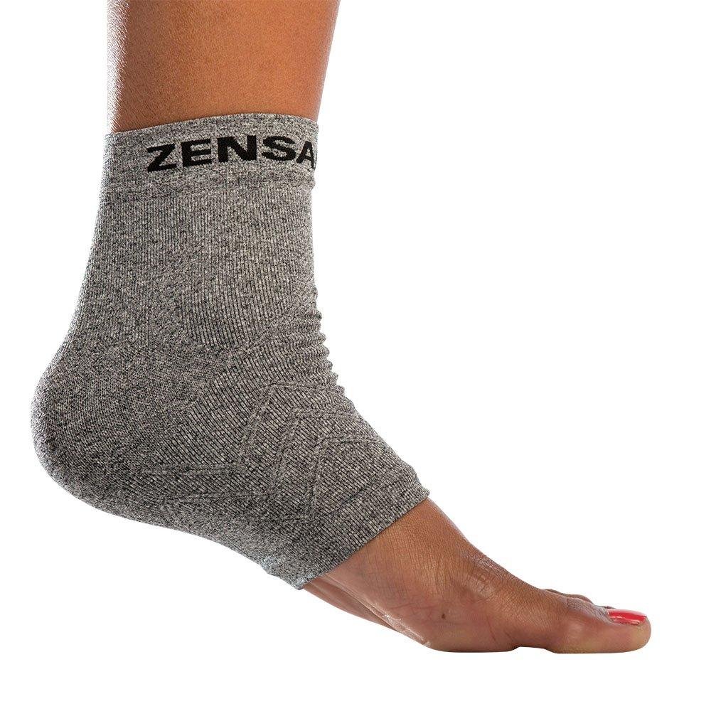 Zensah Ankle Support, Heather Grey, Small/Medium (Men's 5-10, Women's 6-11)