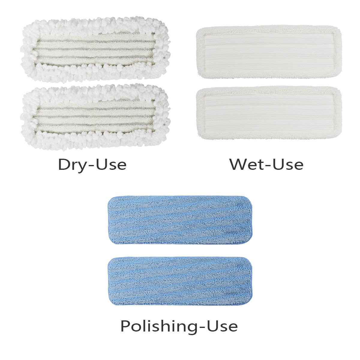 Le Coucou SCD1-MP Refill Replacement for D1 Mop Wet, Dry, Polish Mop Head Variety Pads (3 pack)