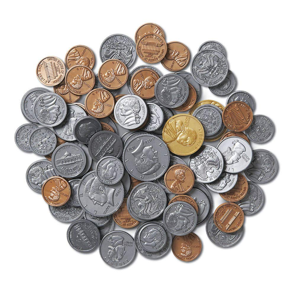 hand2mind Play Money, Plastic Coins (Bulk Classroom Pack of 500)