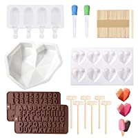 Heart Shaped Chocolate Mold and Popsicle Mold Set - Diamond Silicone Mousse Cake Mold Trays Chocolate Candy Dessert Ice Cream Mold Wooden Hammers for Cake Decoration Making Ice Cream Chocolate