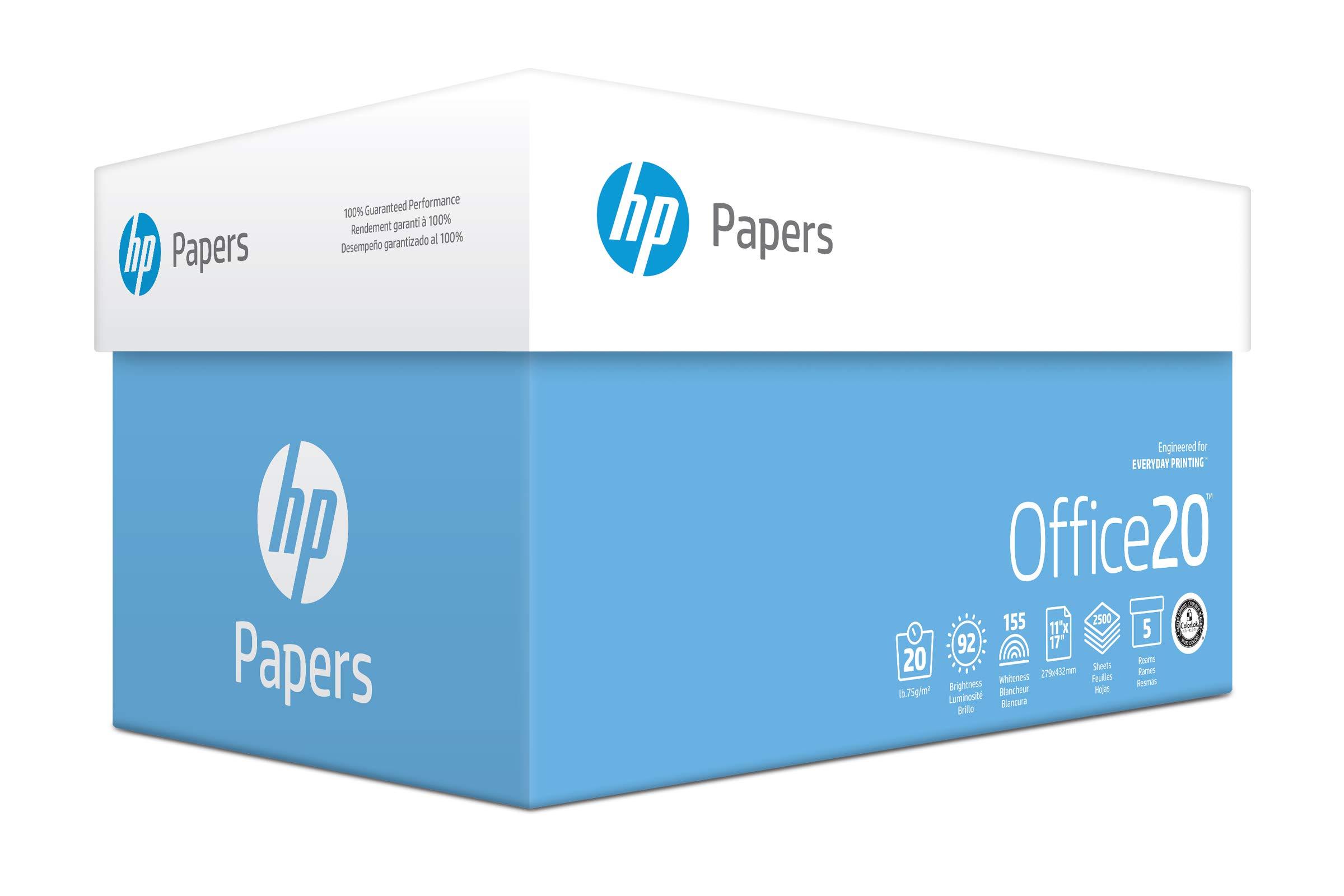 HP Printer Paper, Office20 Paper, 8.5 x 11 Paper, Letter Size, 20lb Paper, 92 Bright, 5 Ream Case / 2,500 Sheets (172160C) Acid Free Paper