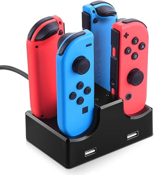 Nintendo Switch Joy Con Cargador Stand, Myriann 4 en 1 Charger ...