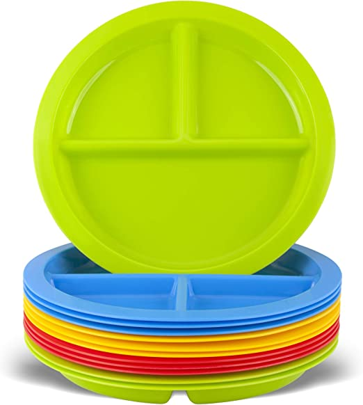Set of 9 in 9 Assorted Colors 3 Compartment Plates Youngever 3-Compartment Divided Plastic Kids Tray