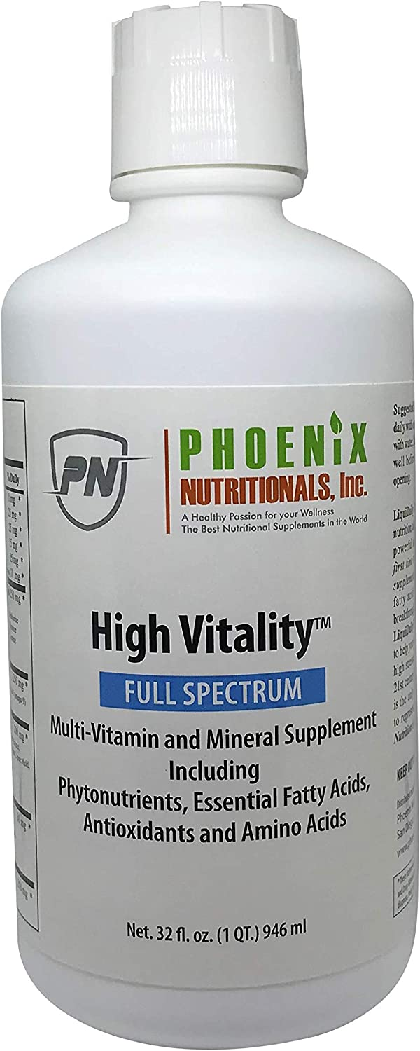 Phoenix Nutritionals High Vitality Natural Liquid & Vitamin Mineral Supplement, High Energy, Anti-Aging Formula, Mixed Fruit Flavor, Gluten Free, Sugar Free, Highly Absorbable