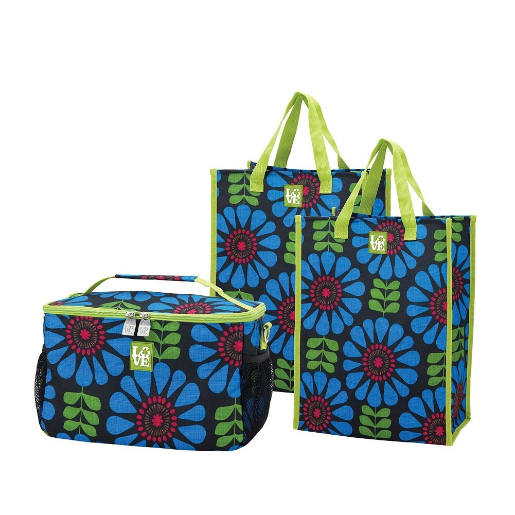 Chill Set Insulated Cooler and 2 Reusable Grocery Bag Totes Flower Power Pattern by Love Bags