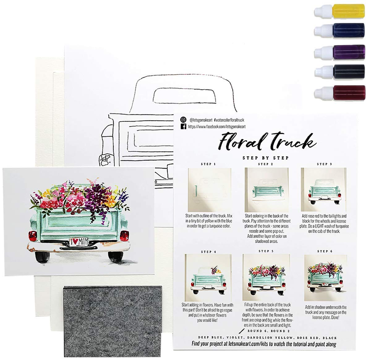 Paper and Instructions Included Let/'s Make Art Step-by-Step Tutorials Available Paint Ready-to-Paint Art Boxes Paint Brushes Sold Separately Iris Watercolor Kit