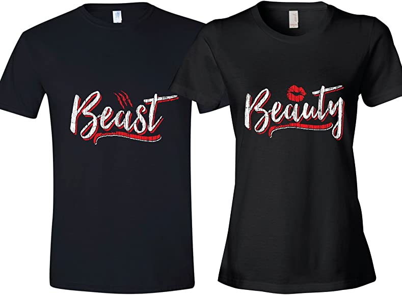 300a6fceb1 Texas Tees Matching Couples Shirt, Matching Beauty & Beast Shirt, Ladies  Large & Mens