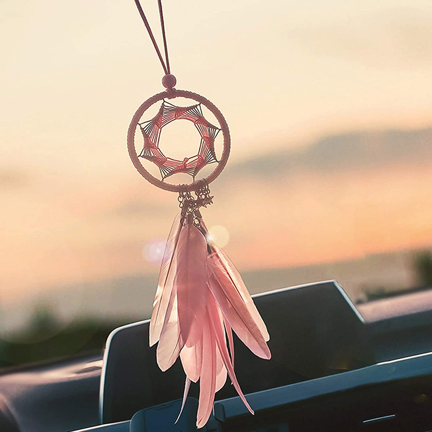 Sweet/&rro17 Handmade Dream Capture Ornament Weaving Car Bedroom Wall and Craft Decoration Blue Star and Feather Creative Feather Net Hanging Accessories