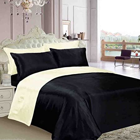 BLACK /& CREAM REVERSIBLE SATIN KING DUVET COVER FITTED SHEET /& 4 X PILLOWCASES