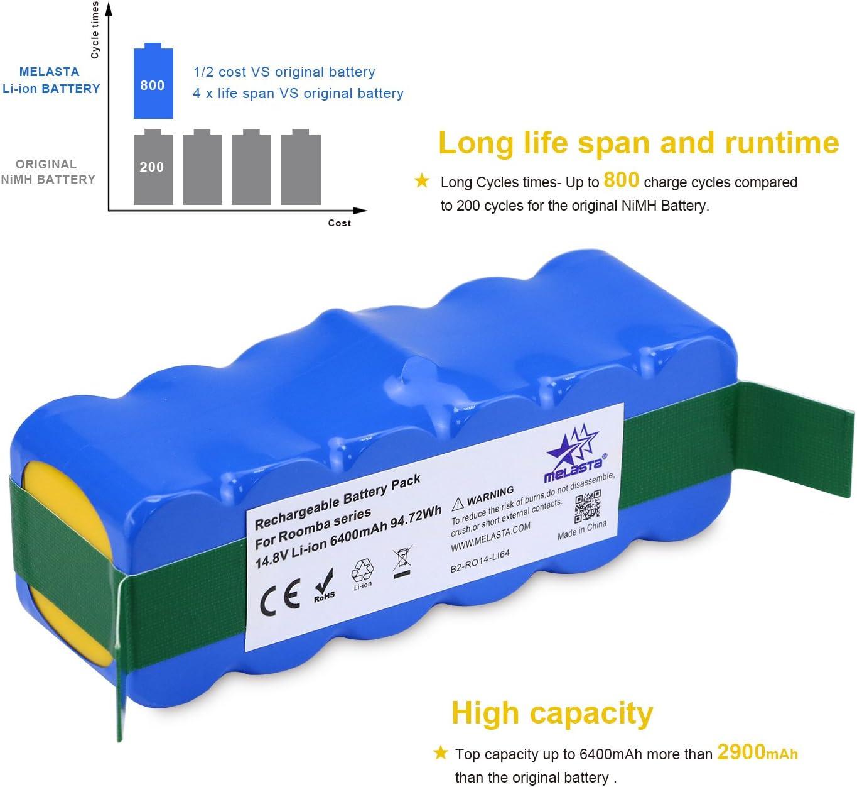 UL e CE MELASTA 6400mAh Litio di batteria per iRobot Roomba Robotic 500 600 700 e serie 800