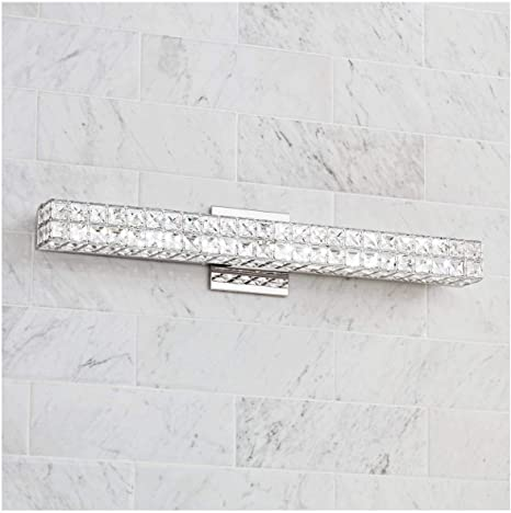 Romantica Modern Wall Mount Light Led Chrome Silver Hardwired 26 Wide Light Bar Fixture Clear Crystal Glass For Bathroom Vanity Mirror House Home Room Decor Vienna Full Spectrum Amazon Com