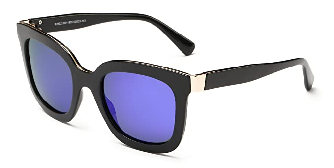 2095320119 MMK collection Polarized Square Mirrored Sunglasses (Black Glossy Frame