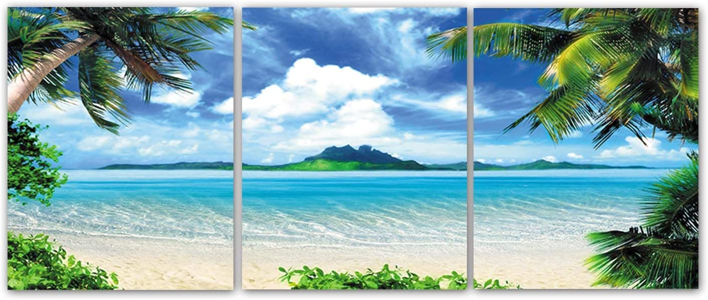 """Modern Blue Ocean Landscape Beach Wall Art Set of 3 (8""""X10"""" Canvas Picture) Summer Sea Palm Tree Blue Sky and White Clouds Art Paintings for Living Room Bathroom Poster Bedroom Home Decor, No Frame"""