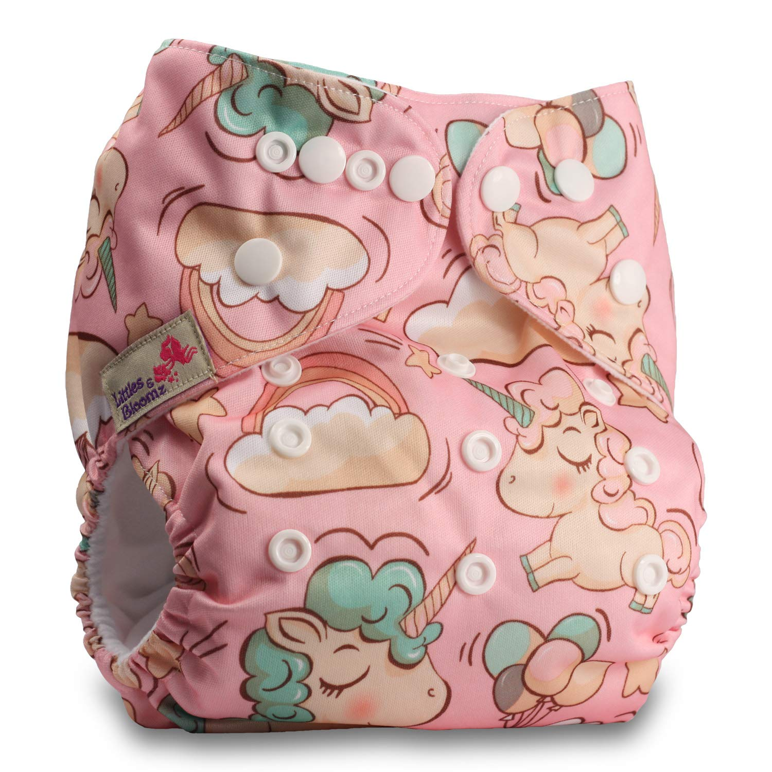 Littles & Bloomz, Reusable Pocket Cloth Nappy, Fastener: Popper, Set of 1, Pattern 5, With 2 Microfibre Inserts
