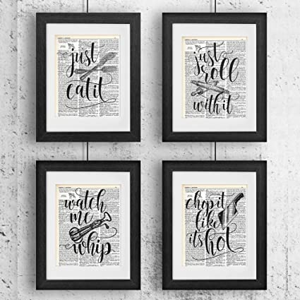 funny kitchen quotes and sayings vintage dictionary encyclopedia art prints set of four 8x10 - Funny Kitchen Quotes