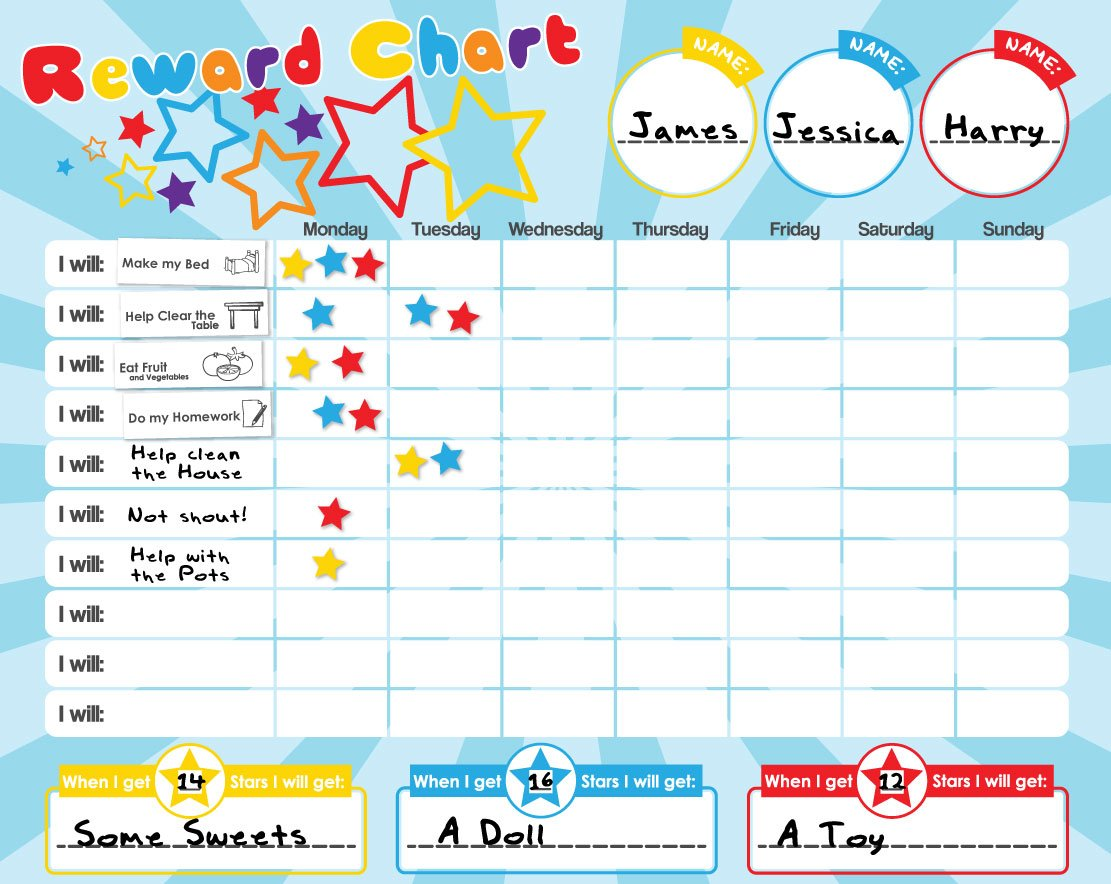 Amazon magnetic rewardstar chart for motivating children amazon magnetic rewardstar chart for motivating children durable board 40 x 30cm toys games nvjuhfo Images