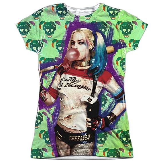 efcbddb55227 Suicide Squad Harley Quinn Baseball Bat Bubble Gum Pose 2-Sided T-Shirt:  Amazon.co.uk: Clothing
