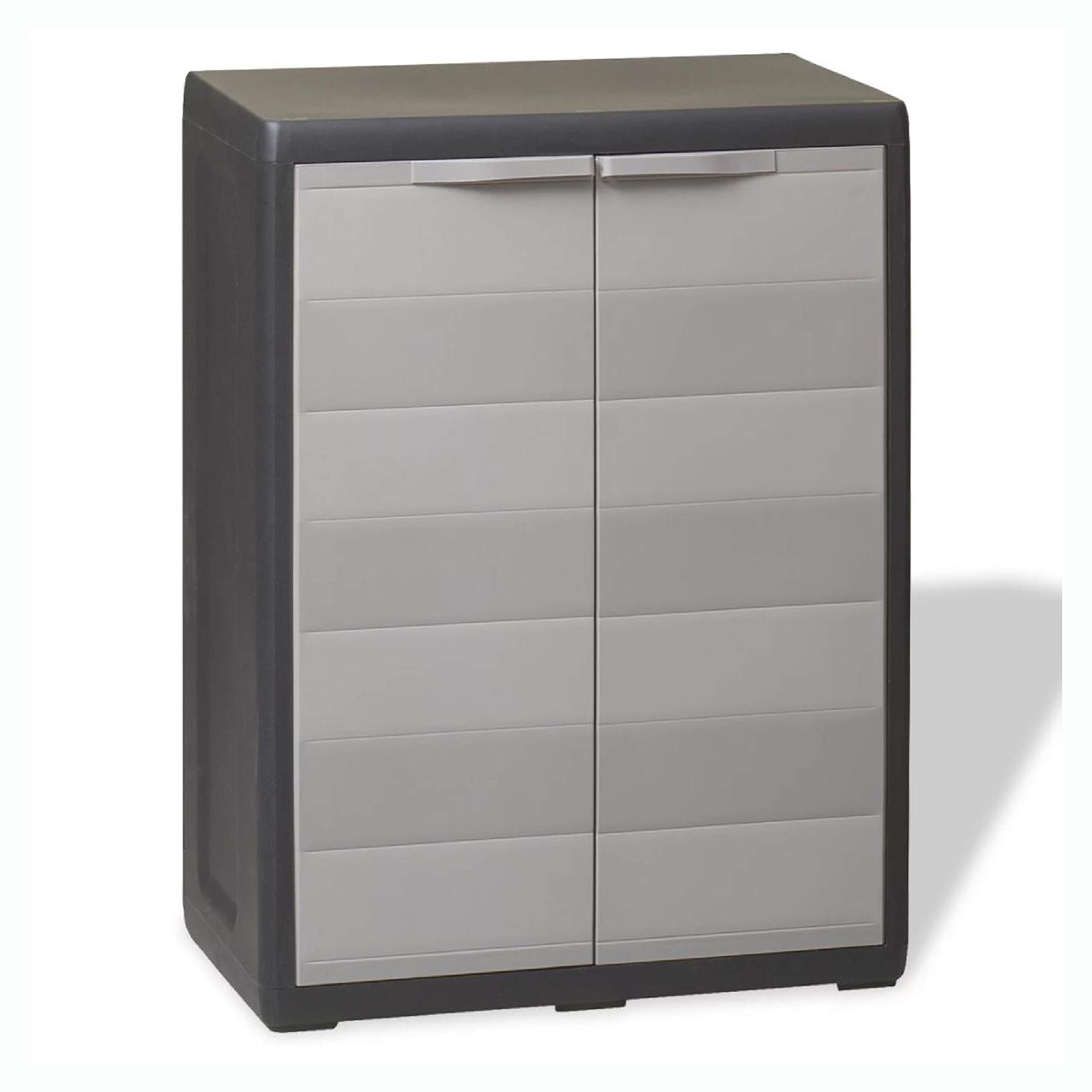 Storage Cabinet & Locker, Garden Storage Cabinet with 1 Shelf Black and Gray