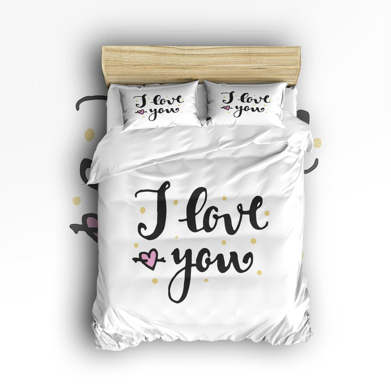 EZON-CH 100% Brushed Cotton Soft Black Letter I Love You Design 4 Piece Duvet Cover Set Duvet Cover Flat sheet Pillow Cases Bed Sheet Set(King)