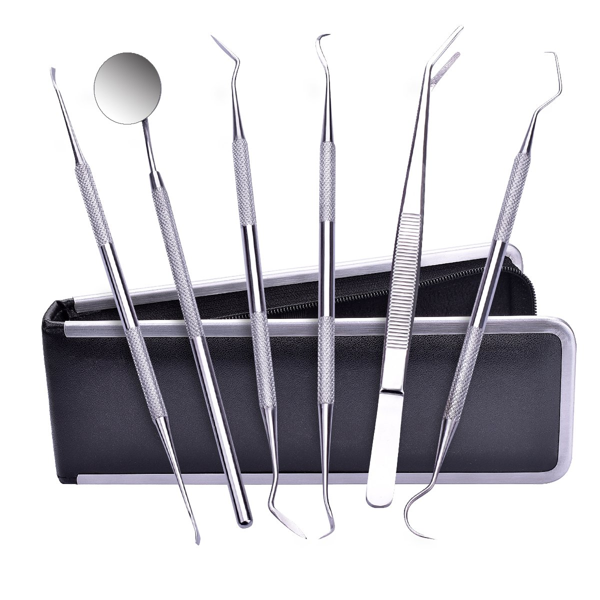 Dental Scraper,TANTAI Dental Pick Hygiene Kit Set- 6 Pack,100% Medical Stainless Steel,Tooth Stains Scraper Remover,Tweezers Dental Gum Floss for Personal or Pet Oral Care Use