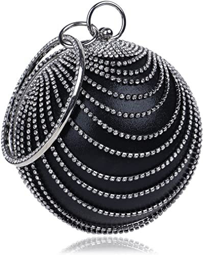 Women/'s Ball Round Shape Wedding Bridal Prom Party Evening Clutch Crystal Tassel