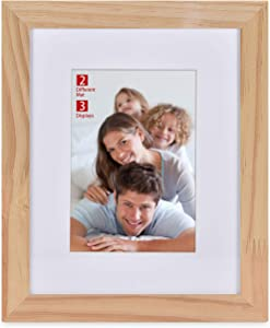BOICHEN 8x10 Picture Frame with 2 Mats (Display 5x7 or Two 4x6) - Natural Solid Wood Photo Frame with Polished Tempered Shatter-Resistant Glass Ready to Hang or Stand