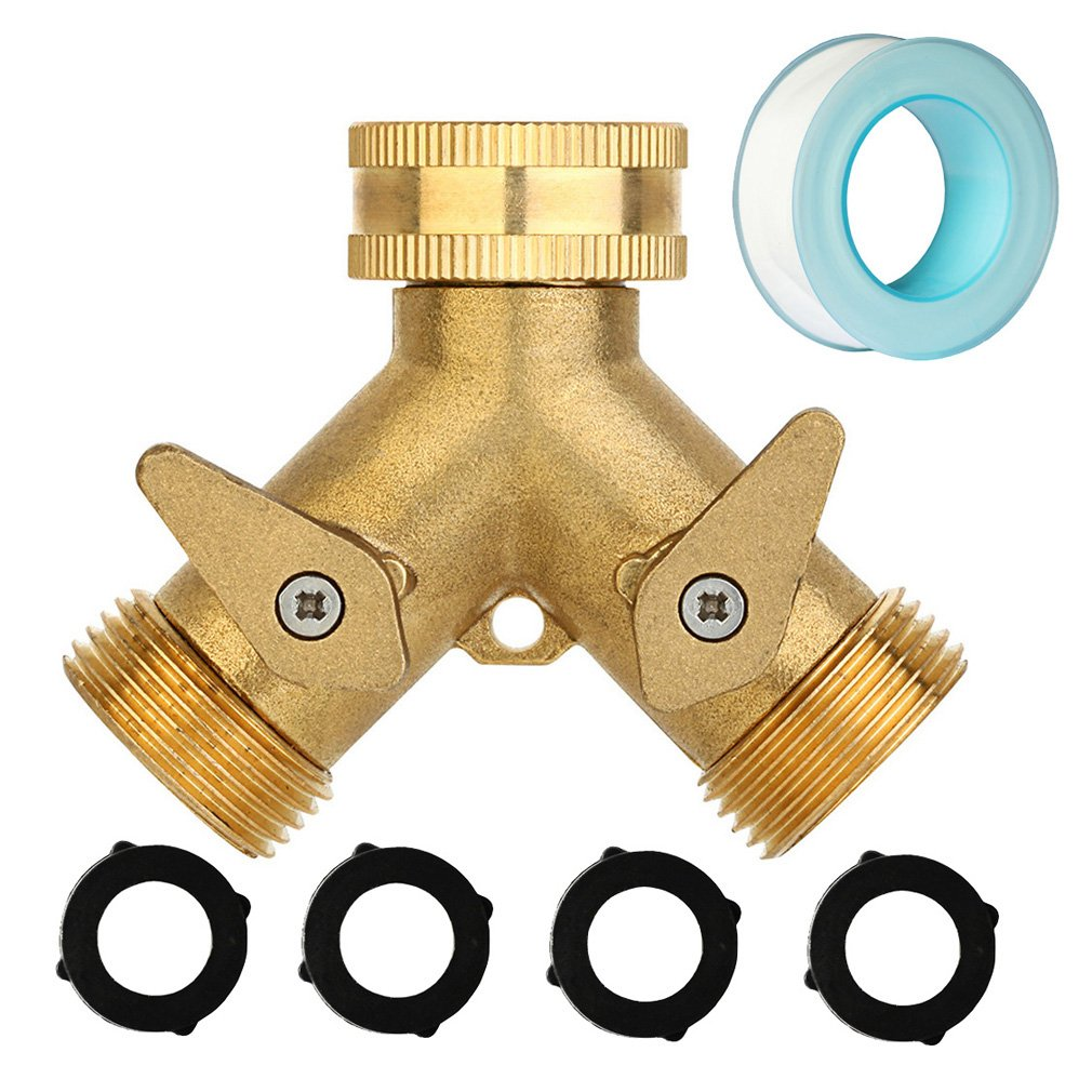 2 Way Tap Manifold Brass Garden Hose Splitter, 3/4 Y Valve Quick Connector, Full Metal Body Heavy Duty Faucet Adapter, Bonus 4 FREE Rubber Washers by Kintor