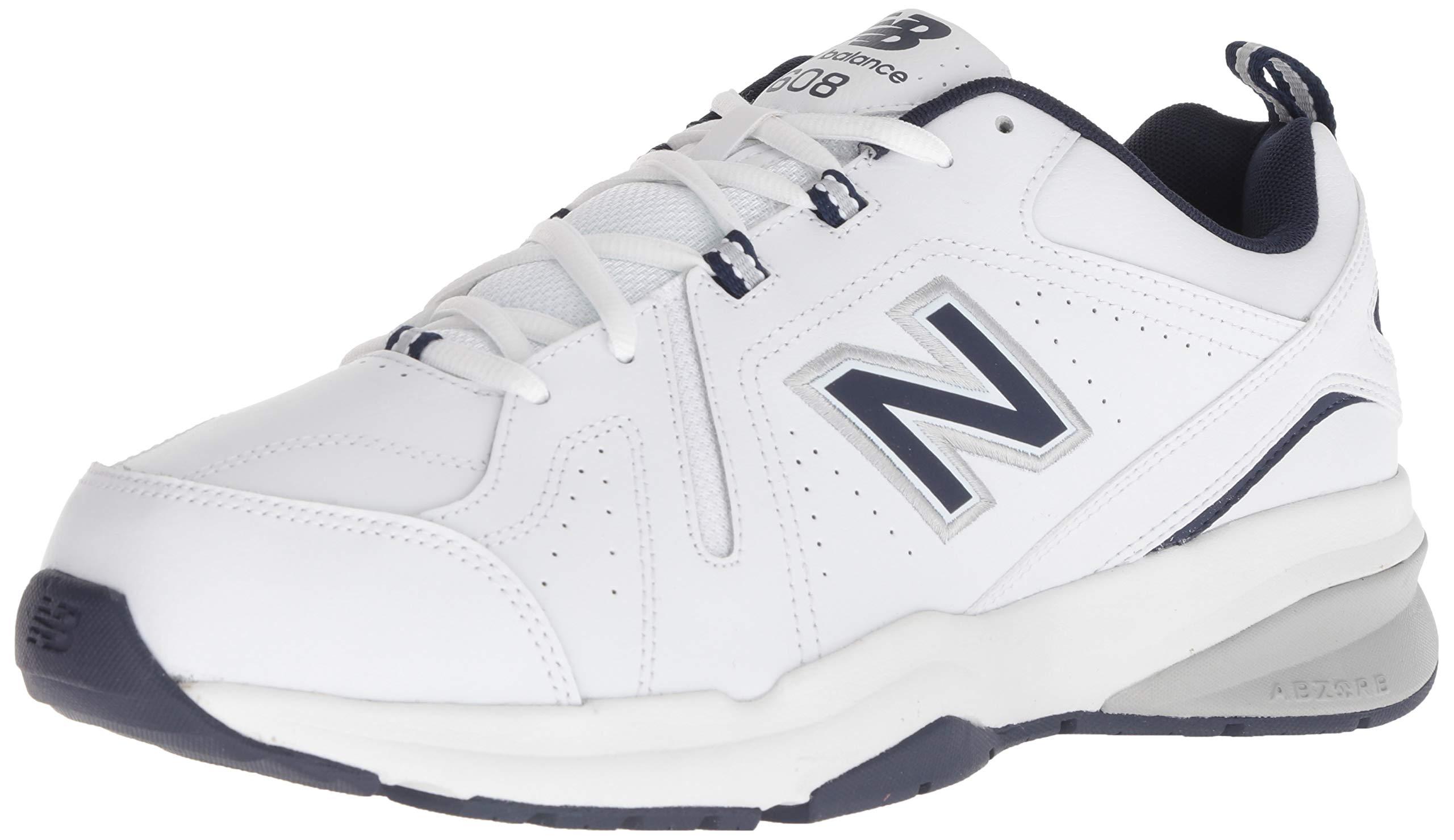 New Balance Men's 608v5 Casual Comfort Cross Trainer, White/Navy, 10.5 4E US by New Balance