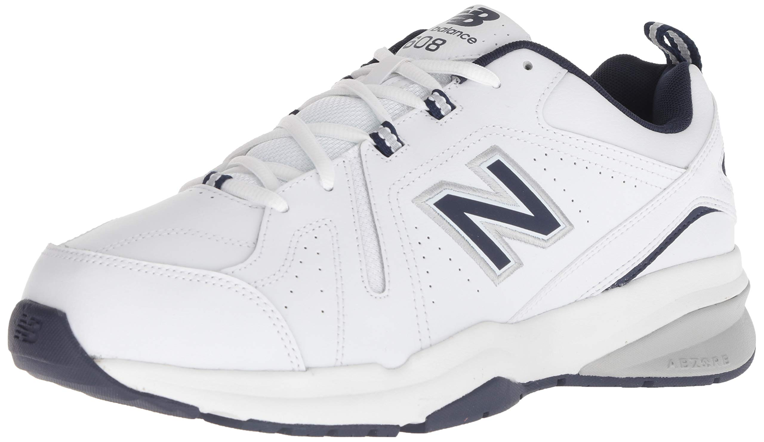 New Balance Men's 608v5 Casual Comfort Cross Trainer, White/Navy, 10.5 2E US