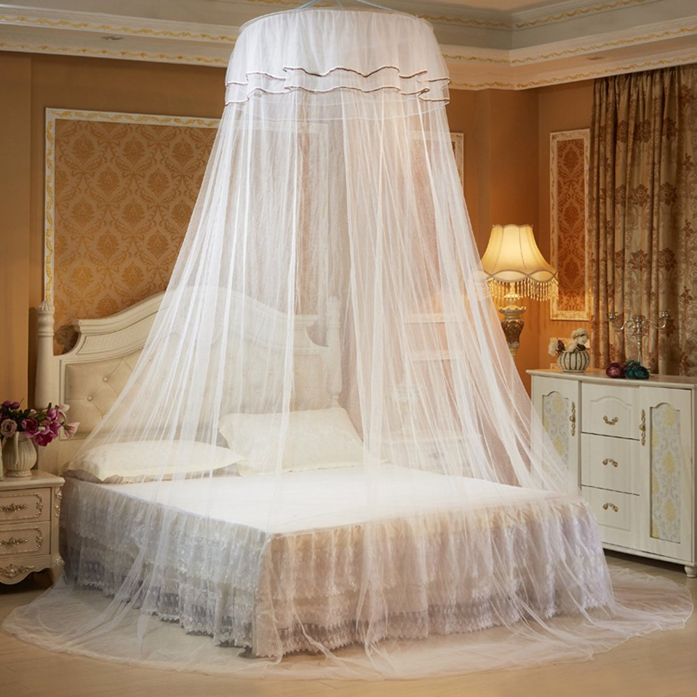 Per Princess Dome Fantasy Netting Curtains with Butterfly Decoration Hanging Round Lace Canopy Play Tent Mosquito Net for Double Bed(white)