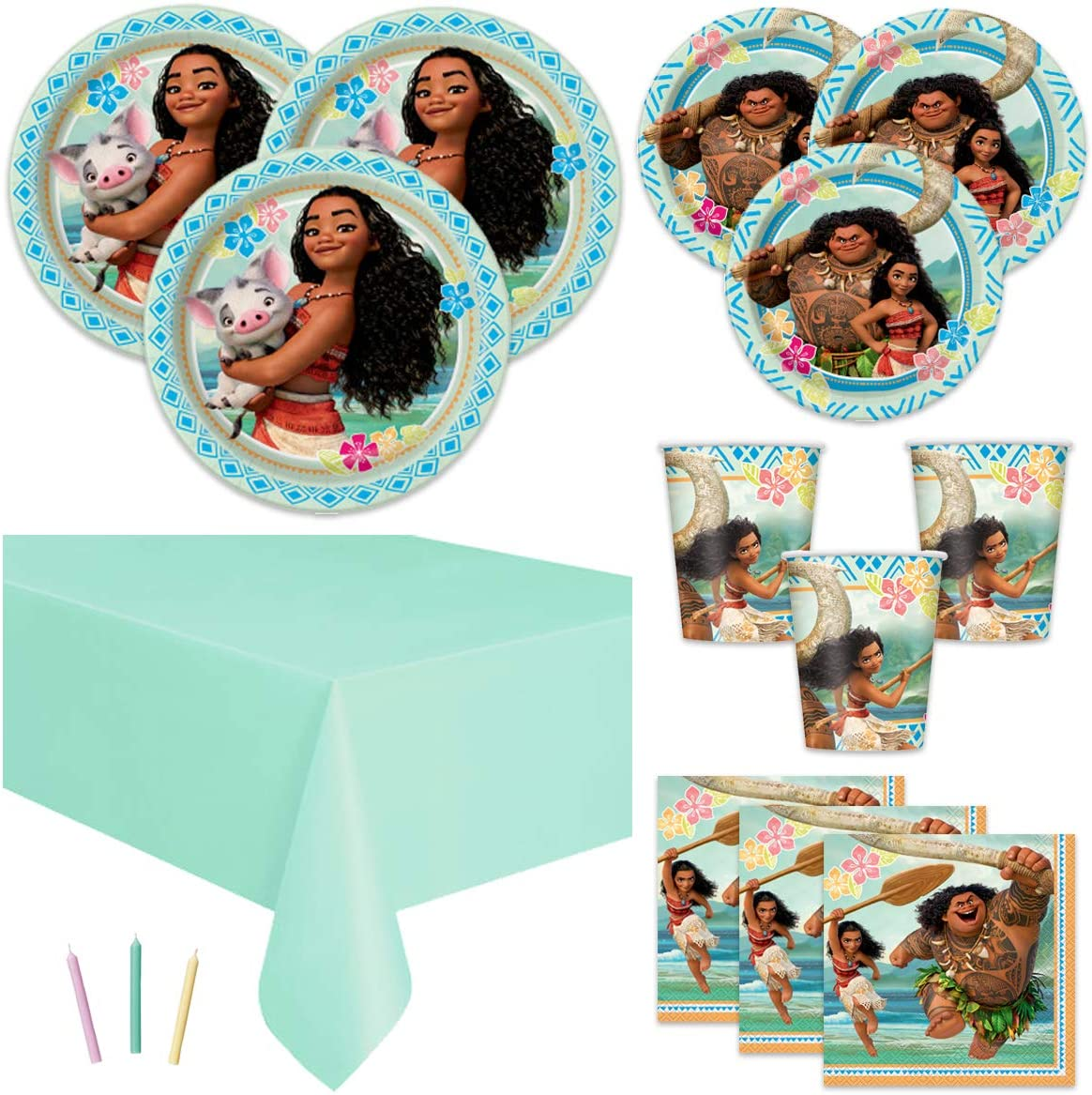Moana Theme Birthday Party Supplies Set - Tablecover, Plates, Cups, Napkins, Candles