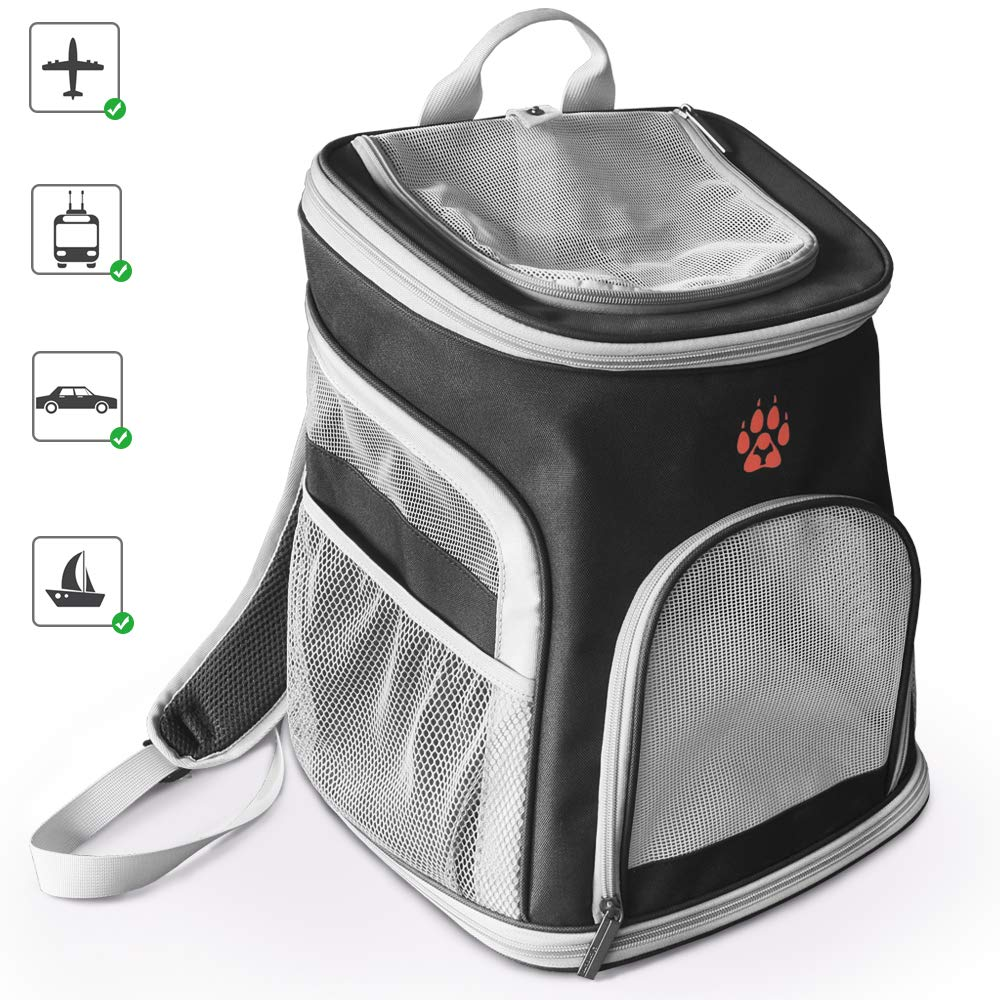 GECOUN Pet Carrier Backpack Portable Soft-Sided Dog Carrier Backpack Comfort for Small Dogs & Cats Airline Approved Ventilated Design Cushion Back Support