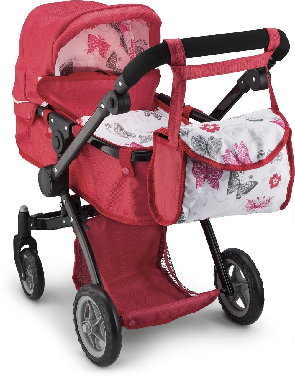 Litti Pritti Doll Strollers Pro Deluxe Doll Stroller with Swiveling Wheels, Adjustable Handle and Carriage Bag