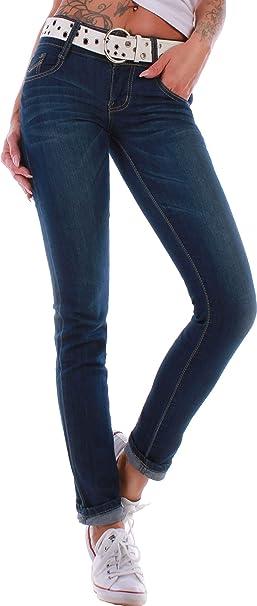 Damen Jeans Hose Röhre Röhrenjeans Hüftjeans Hüfthose Skinny Slim Fit Stretch