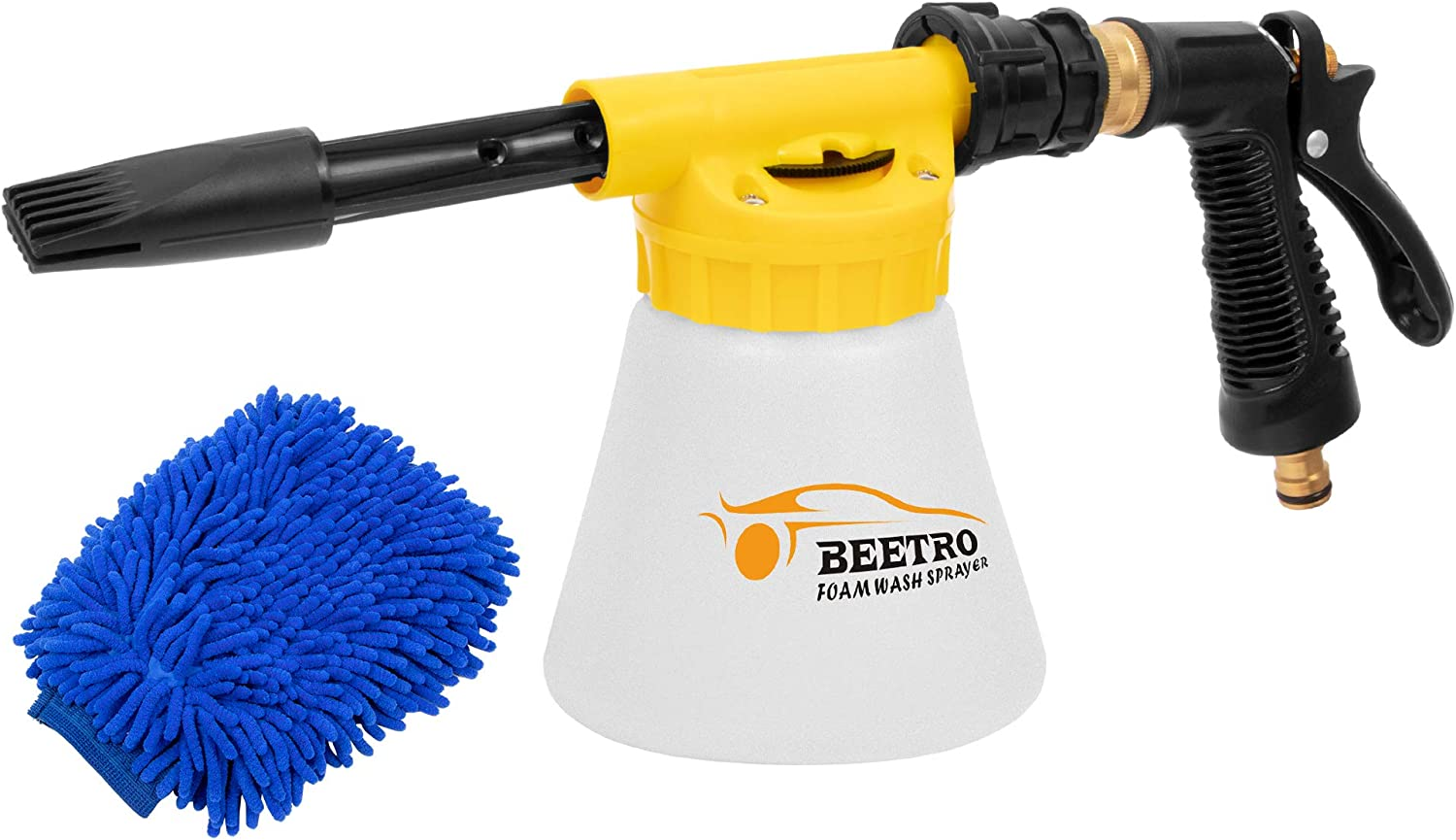 BEETRO Car Wash Foam Gun Sprayer with Thick Suds, Adjustable Ratio Dial Foam Wash Gun for Car Home Cleaning,0.23 Gal/900 ml Foam Cannon Attaches to Any Garden Hose (Foam Sprayer with Wash Mitt)