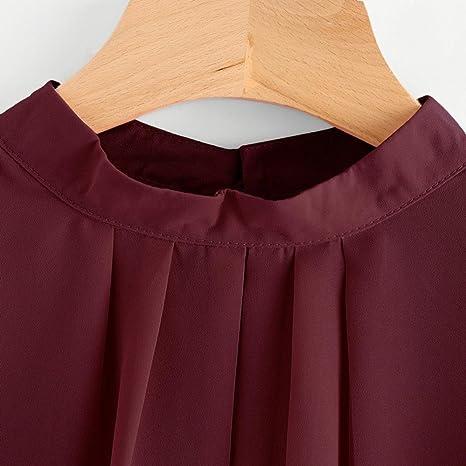 Blusa Mujer de BaZhaHei, Camisas Las Mujeres doblan la Camisa de Manga Larga Floja Ocasional la Gasa del Verano Tops la Blusa Camisetas Mujer de chifón de ...