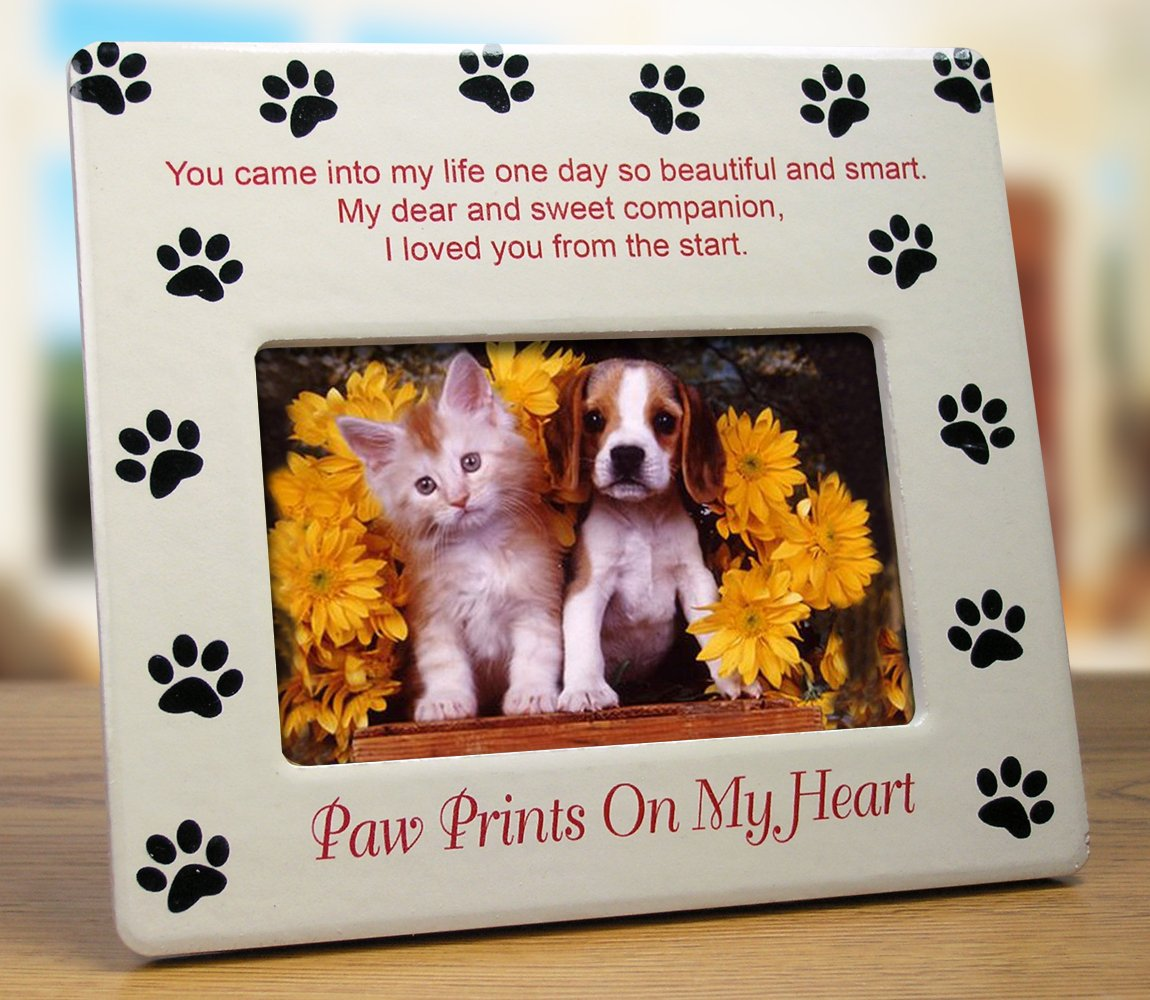 amazoncom pet memorial picture frame paw prints on my heart pet sympathy gift pet bereavement gift pet frame pet memorial plaque pet supplies