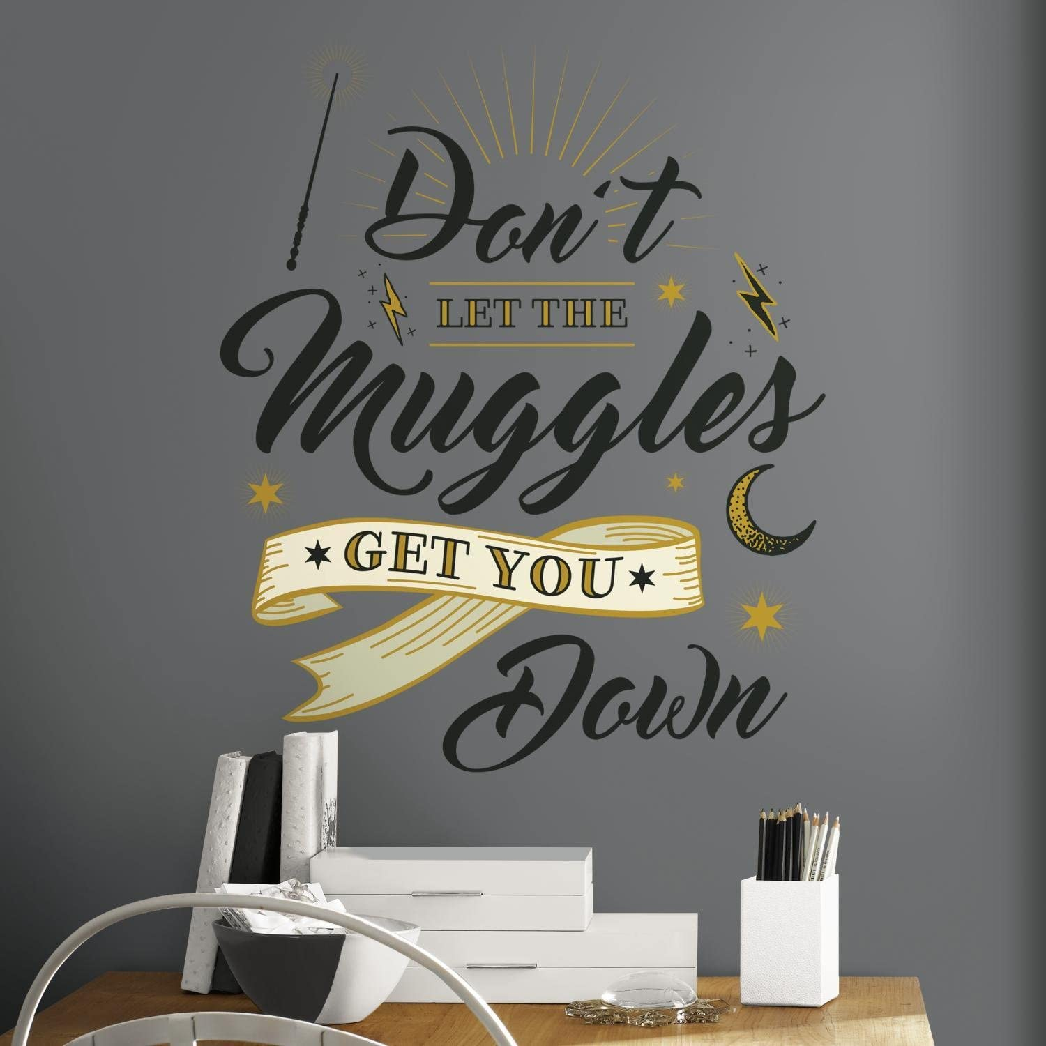 RoomMates Harry Potter Muggles Quote Peel And Stick Giant Wall Decals - RMK3608GM