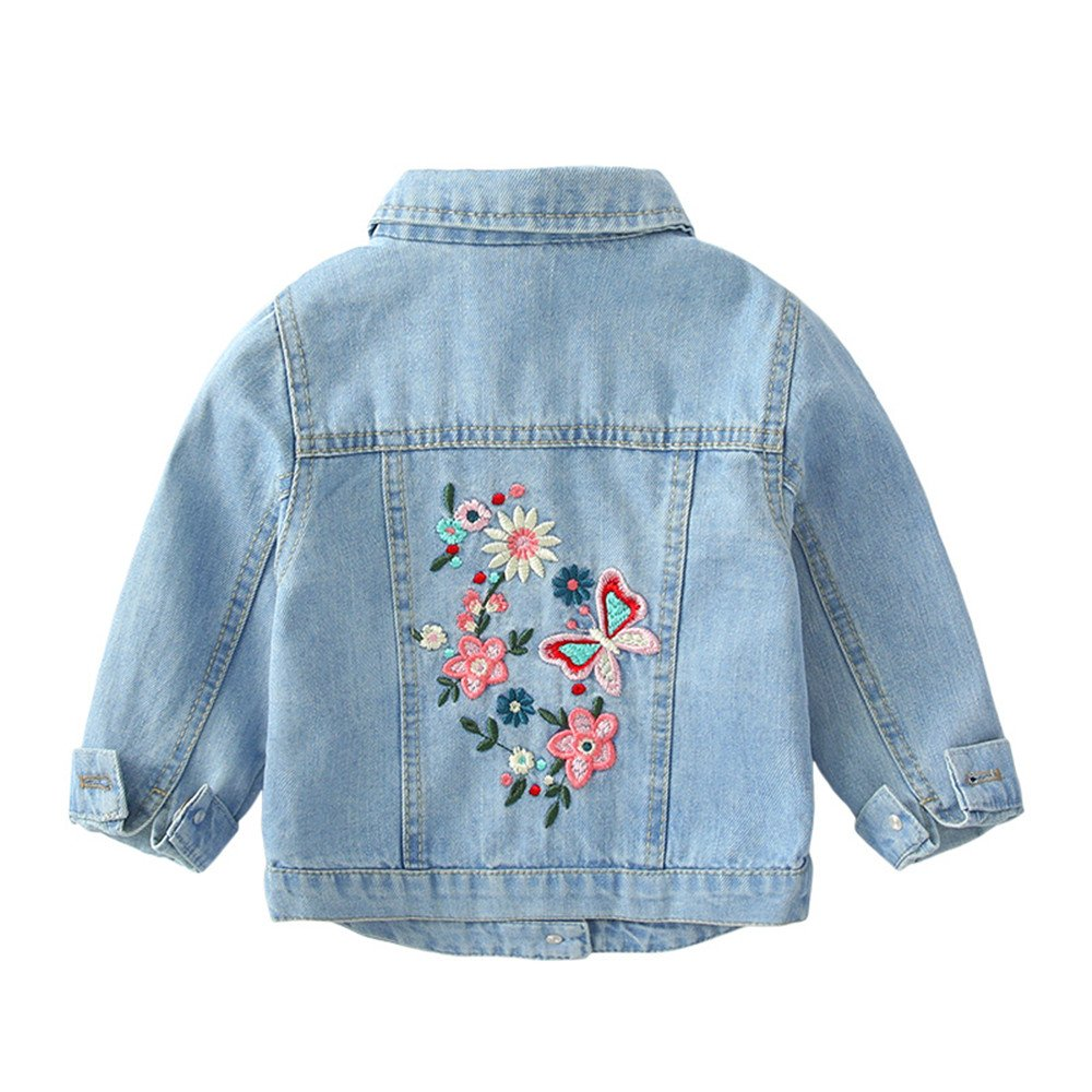 ZPW Kid Girls New Casual Denim Jacket Floral Emboridery Style Fashion Trendy Coat