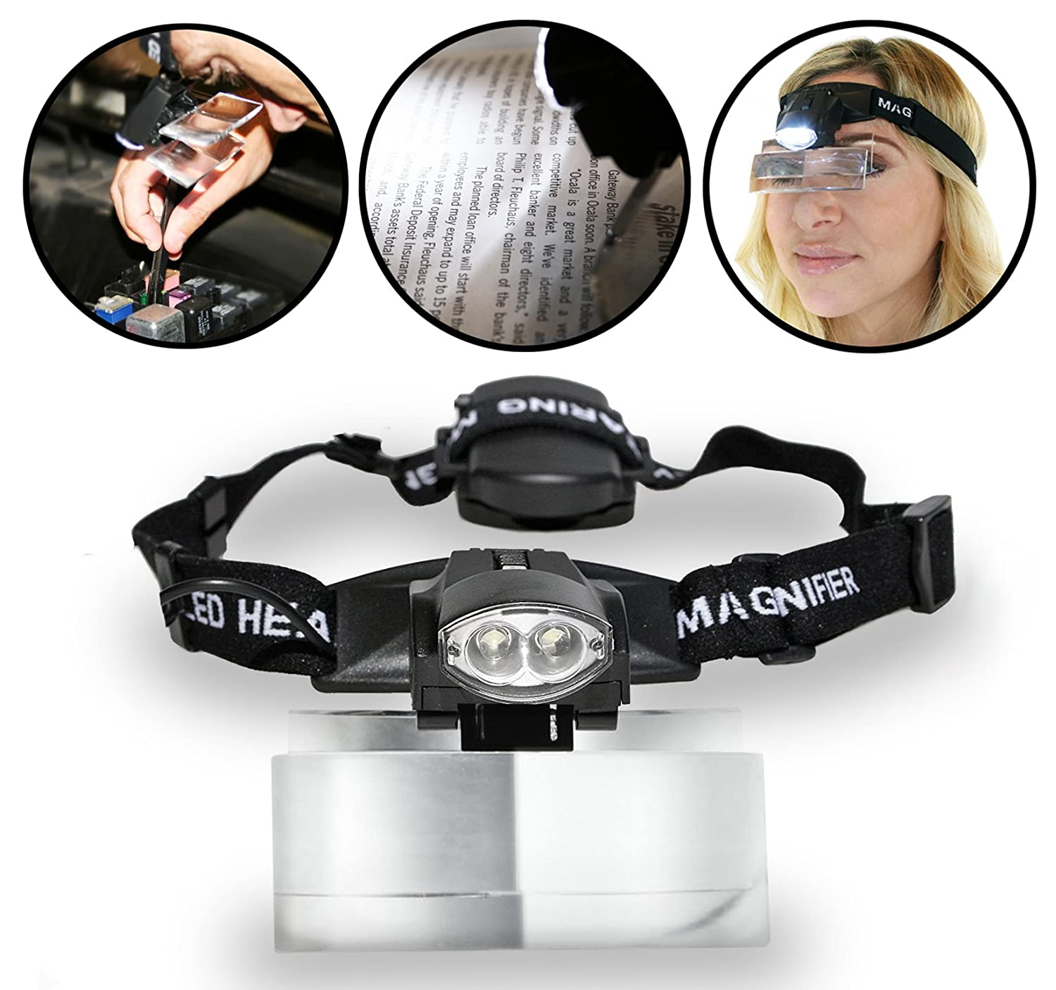 Magnifying Glasses For Close Work With Light LED Headlight With Magnifier Interchangeable Glasses Jeweler's Loupe Magnifier For Close Work Reading Eyelash Electronics Hobby Craft 1.0x 6.0x