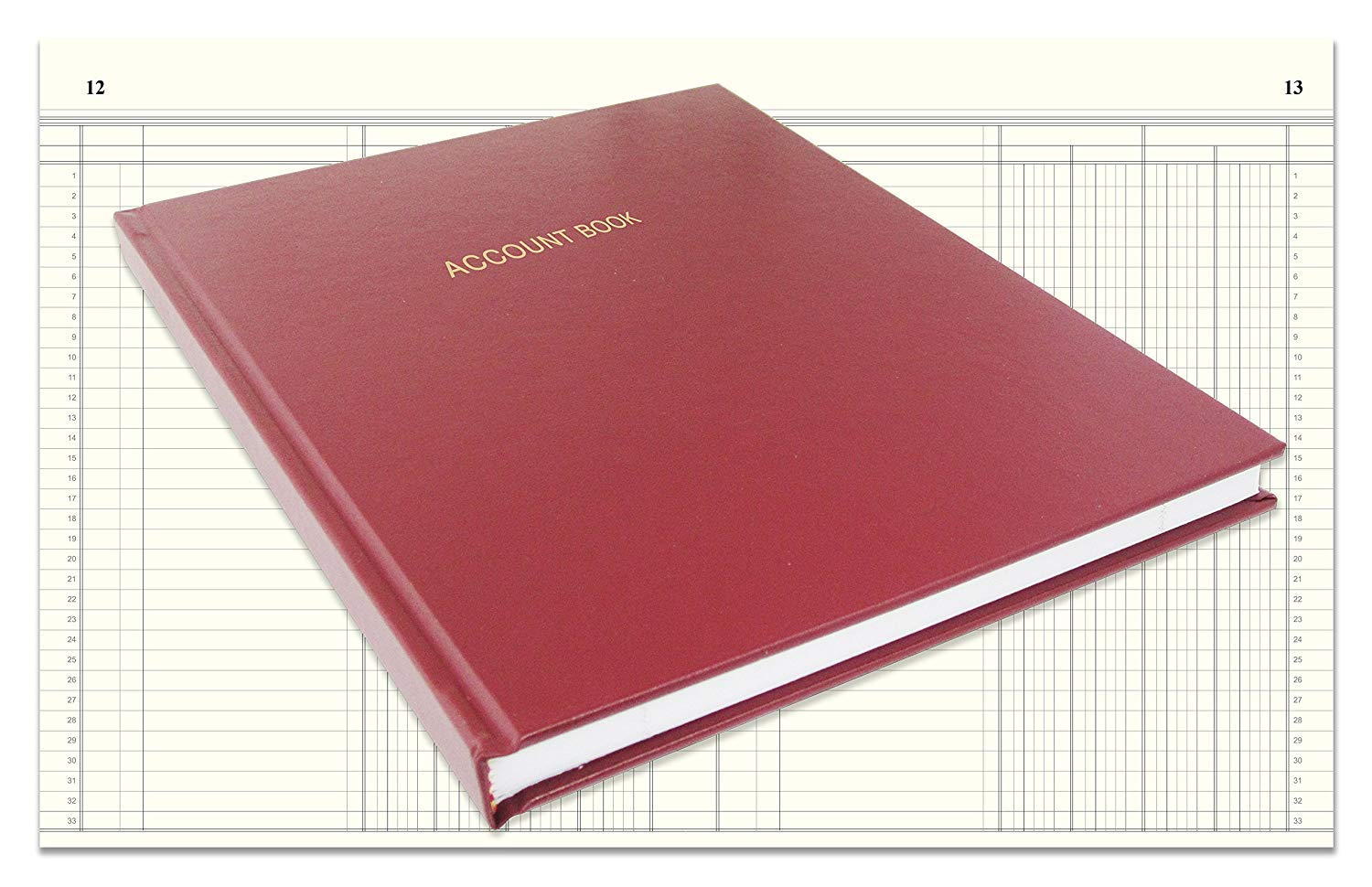BookFactory Account Book/Ledger Book/Accounting Ledger/Account Notebook (Columnar Book Format) - 168 Pages, 8'' x 10'', Burgundy Cover, Smyth Sewn Hardbound (ACT-168-S4CM-A-LMT16)